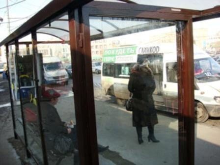 Автобусная остановка окрашенная алкидной быстросохнущей эмалью ЗАО АЛЬП ЭМАЛЬ