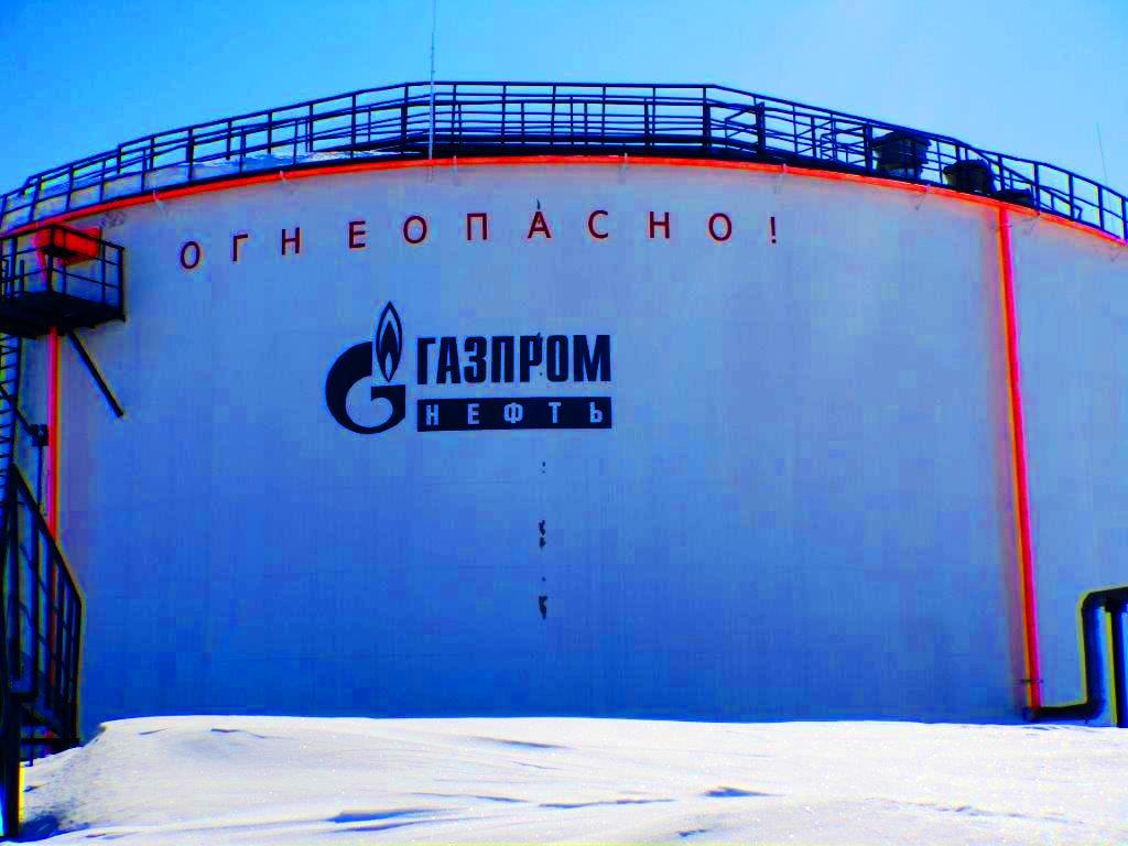 Морозостойкая краска СЕВЕРОН производства АЛЬП ЭМАЛЬ, танк ГАЗПРОМ