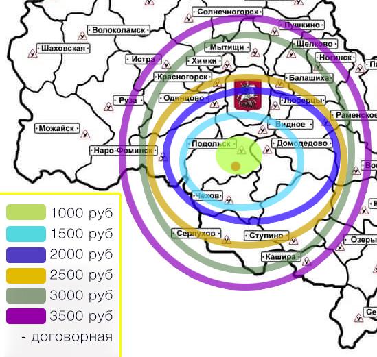 Стоимость доставки по Москве и МО. Карта